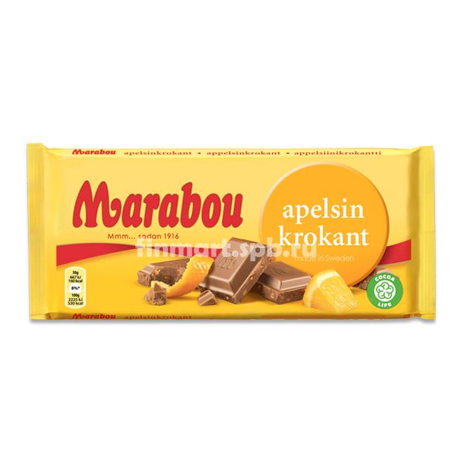 Молочный шоколад Marabou Apelsin Krokant  - 200 гр.