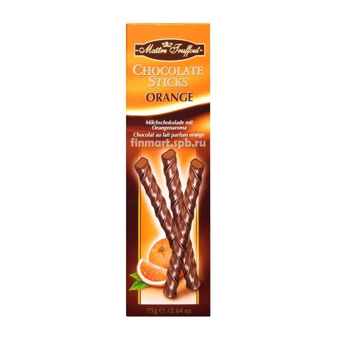 Шоколадные палочки с апельсиновой начинкой Maitre Truffout Chokolate Sticks - 75 гр.