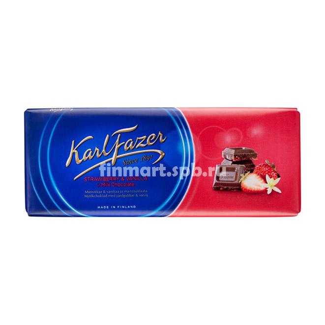 Молочный шоколад Karl Fazer mansikka&vanilja (клубника, ваниль) - 190 гр.