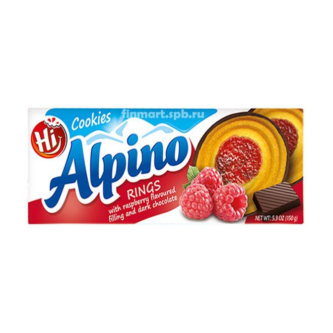 Печенье Alpino (малина, тёмный шоколад) - 150 гр.