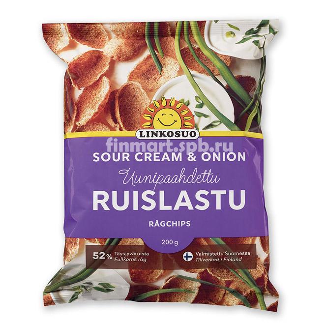 Хлебные чипсы Linkosuo Ruislastu (с вкусом сметаны и лука) - 200 гр.
