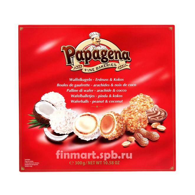 Вафельные шарики с кокосом и арахисом Papagena - 300 гр.