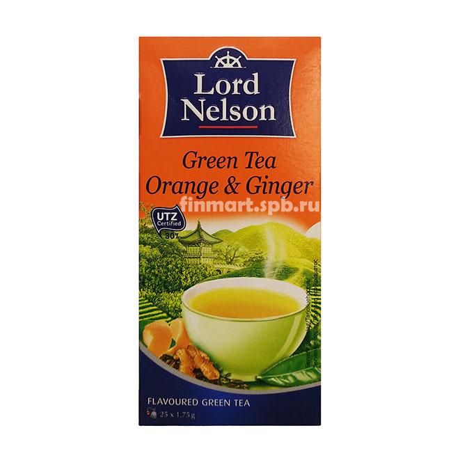 Зелёный чай Lord Nelson Orange&Ginger (апельсин и имбирь) - 25 пак.
