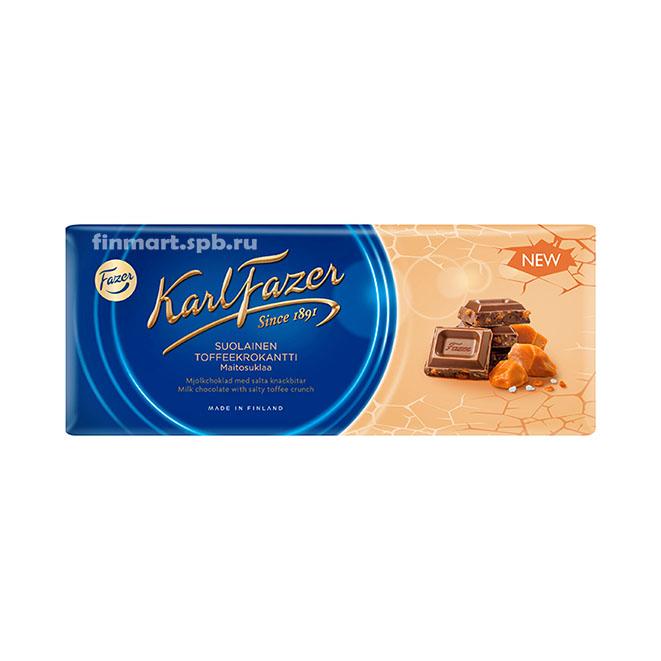 Молочный шоколад Karl Fazer suolainen toffeekrokantti (с соленой карамелью) - 200 гр.