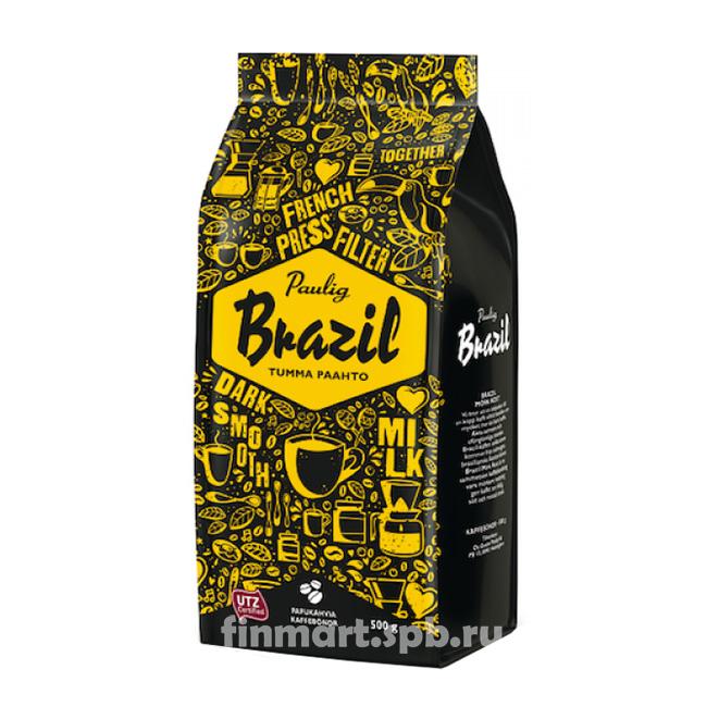 Кофе в зёрнах Paulig Brazil Tumma pahto (сильной обжарки) - 500 гр.