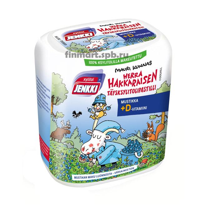 Конфеты с ксилитолом Jenkki Mustikka + Витамин D (вкус черника) - 55 гр.