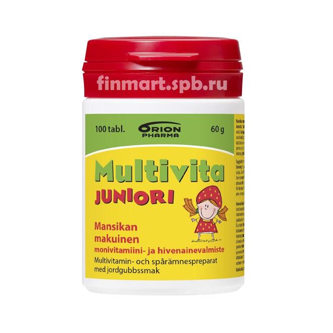 Мульти-витаминный комплекс Multivita Juniori mansikan (вкус клубника) - 100 таб.