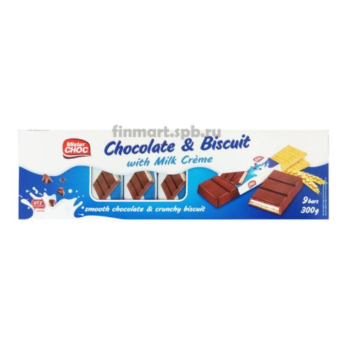Шоколадки с печеньем и кремом Mister Choc Chocolate Biscuit - 9 шт..