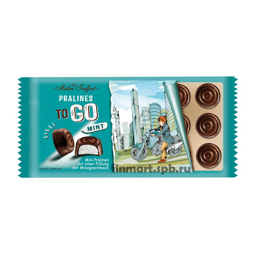 конфеты из тёмного шоколада с мятным суфле Maitre Truffout Pralines to GO Mint