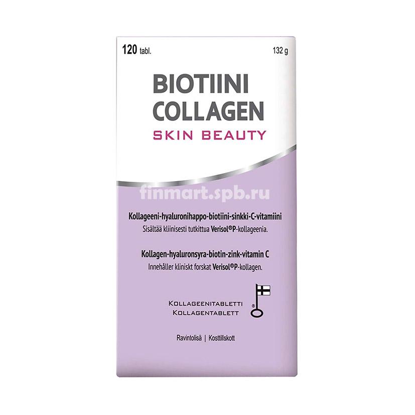 Витамины с коллагеном, гиалуроновой кислотой, биотином, цинком, витамином С - Biotiini Collagen skin beauty