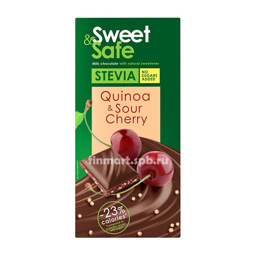 Тёмный шоколад Stevia sweet&safe (Киноа, Вишня) - 90 гр.