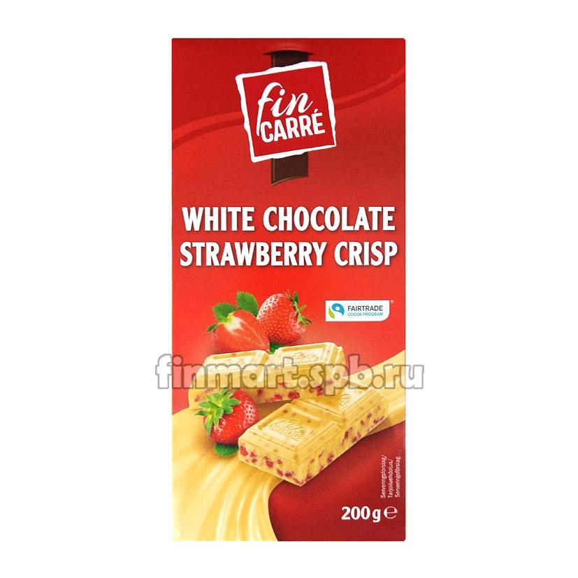 Белый шоколад Fin carre white chocolate strawberry crisp - 200 гр.