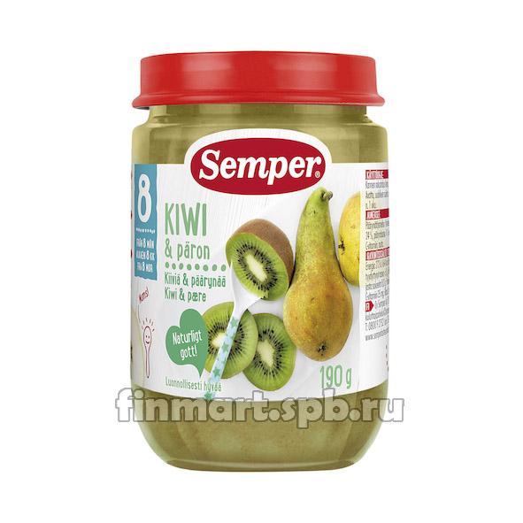 Фруктовое пюре Semper Kiwi, apple, paron (киви, яблоко, груша) - 190 гр.