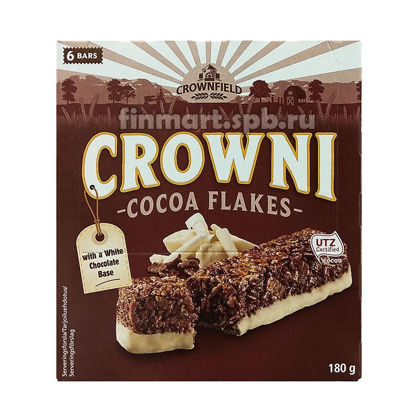 Батончики мюсли CROWNI Cocoa Flakes with white chocolate base - 6 шт.