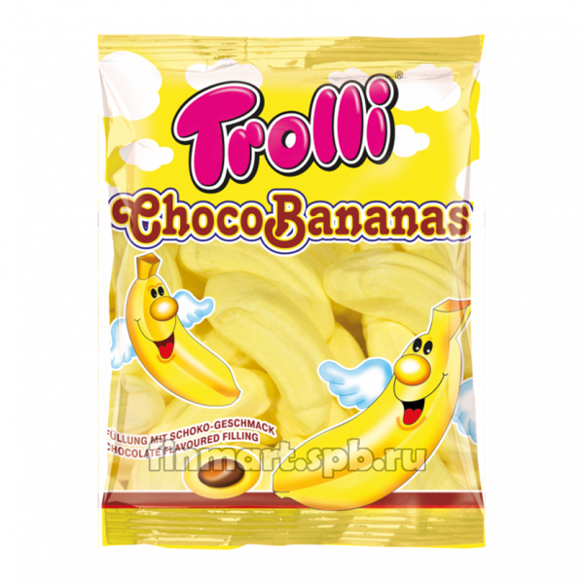 Маршмеллоу Trolli Choko Bananas (банан, шоколад) - 150 гр.