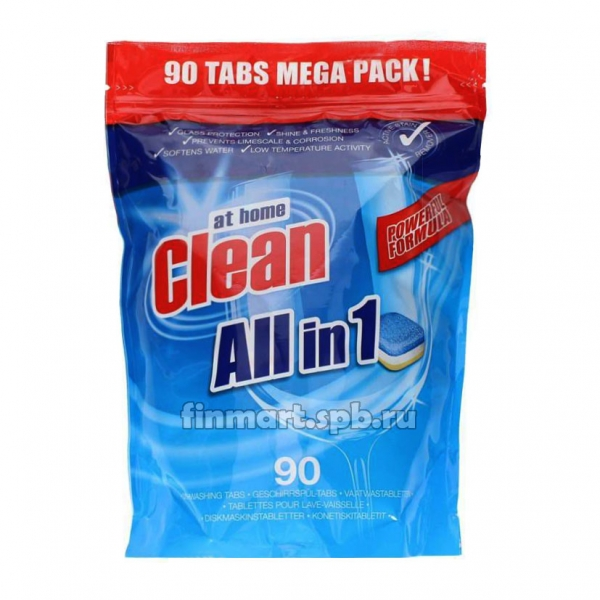Таблетки для ПММ at home Clean all in 1 - 90 шт.