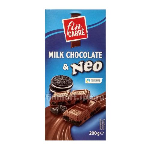 Шоколад Fin carre milk chocolate & Neo (с печеньем) - 200 гр.