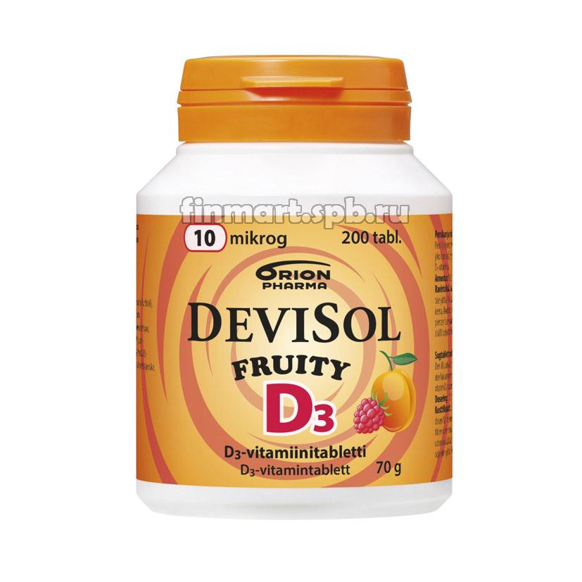 Витамин Д3 DeviSol D3 Fruity 10 mkg - 200 шт.