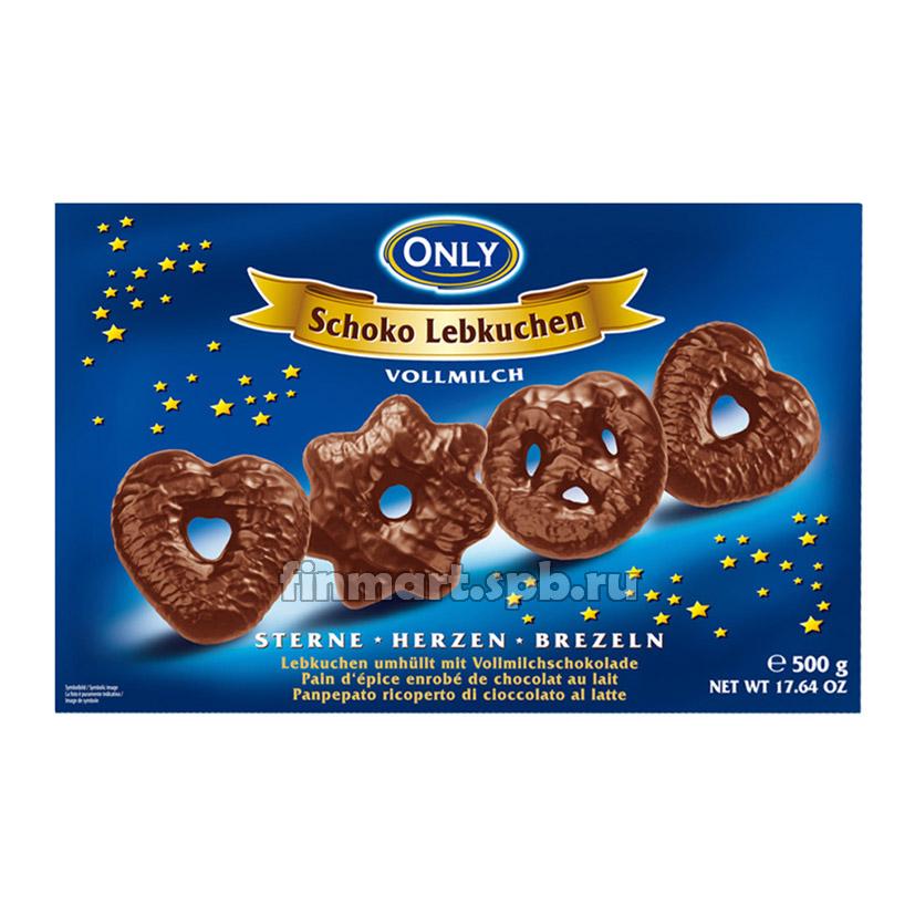 Имбирное печенье в молочном шоколаде Only Schoko Lebkuchen - 500 гр.