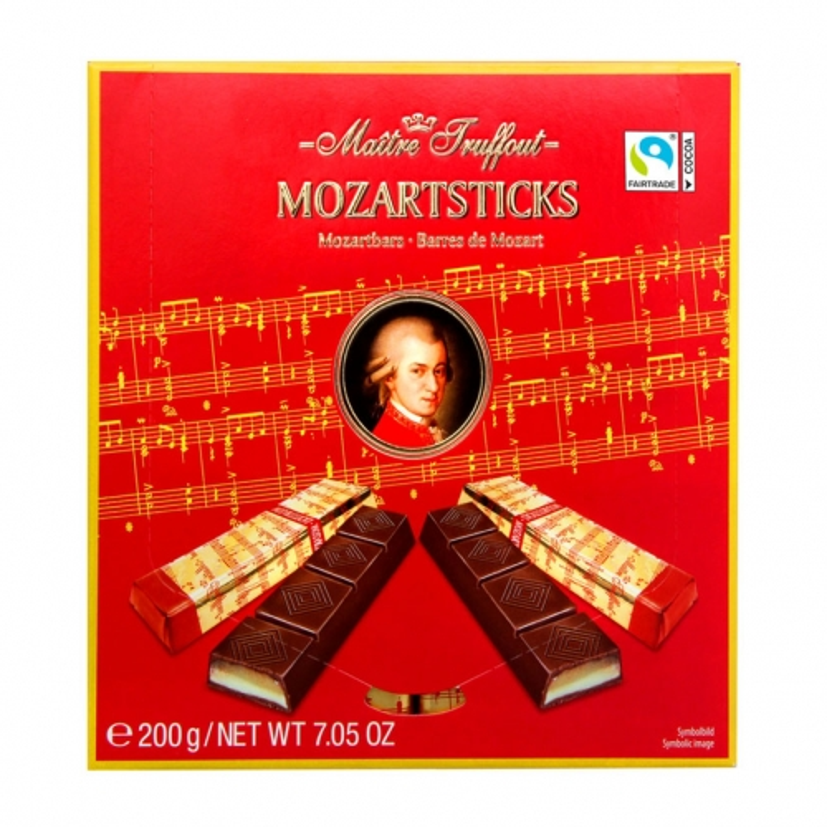 Темный шоколад с марципаном Maitre Truffout Mozartsticks - 200 гр.