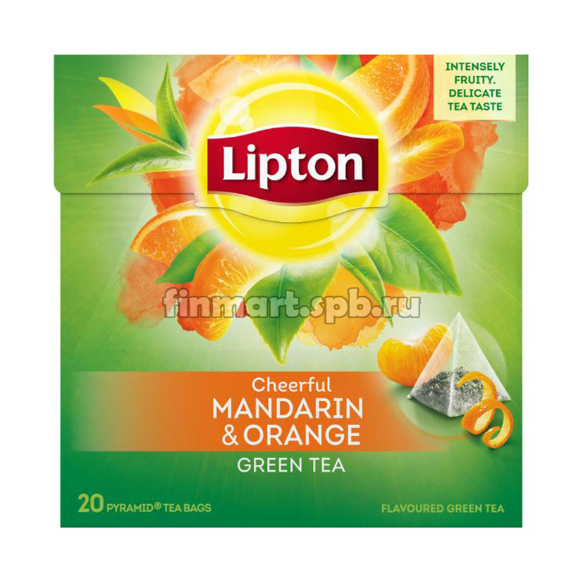 Зелёный чай Lipton cheerful mandarin orange (мандарин, апельсин) - 20 пак.