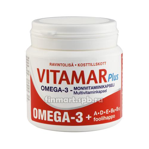Витамины Vitamar Plus (Омега-3 + витамины A, D, E, B6, B12 и фолиевая кислота) - 100 шт.
