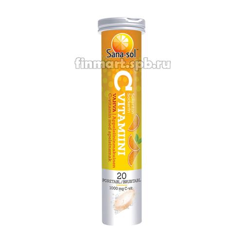 Шипучие таблетки витамин С Sana sol (Сана сол) C vitamiini - 20 шт.