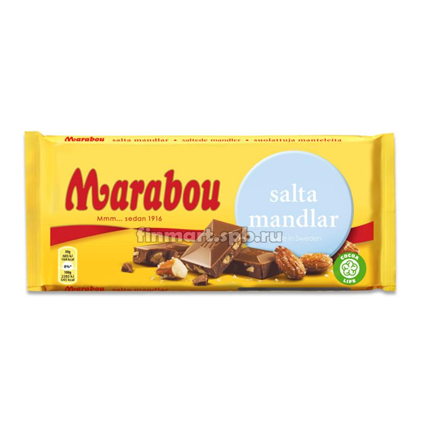 Молочный шоколад Marabou Salta Mandlar (солёный миндаль) - 200 гр.