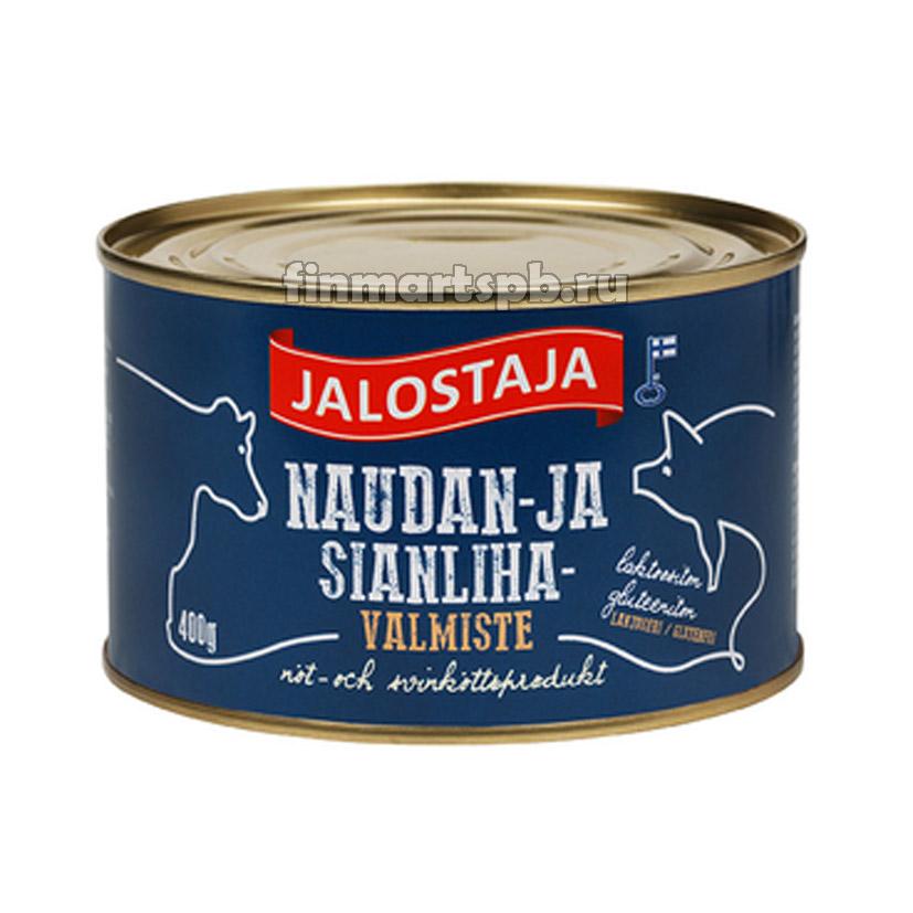 Тушёная говядина со свининой Jalostaja naudan- ja sianlihavalmiste 400 гр.