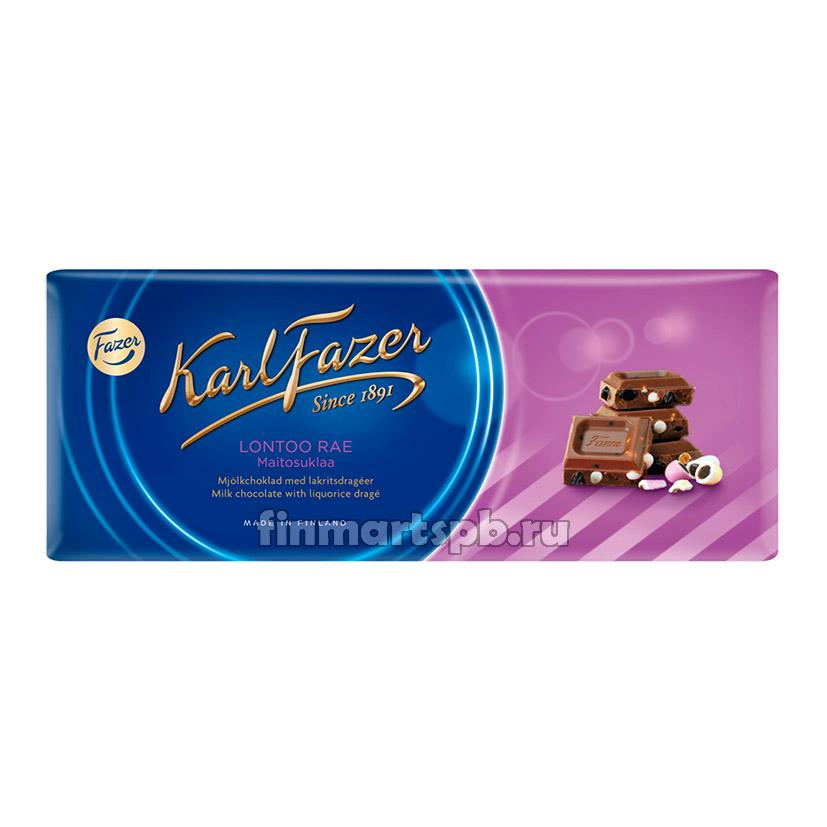 Молочный шоколад Karl Fazer Lontoo rae (с лакрицей) - 200 гр.