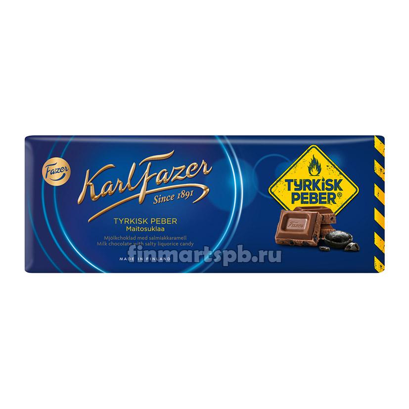 Молочный шоколад Karl Fazer Tyrkisk peber (с острой лакрицей) - 200 гр.