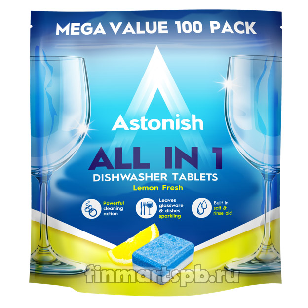 Таблетки для ПММ Astonish All in One Lemon 100