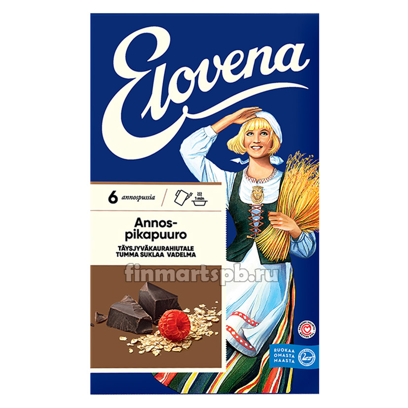 Каша геркулесовая тёмный шоколад с малиной Elovena - 6 порций.