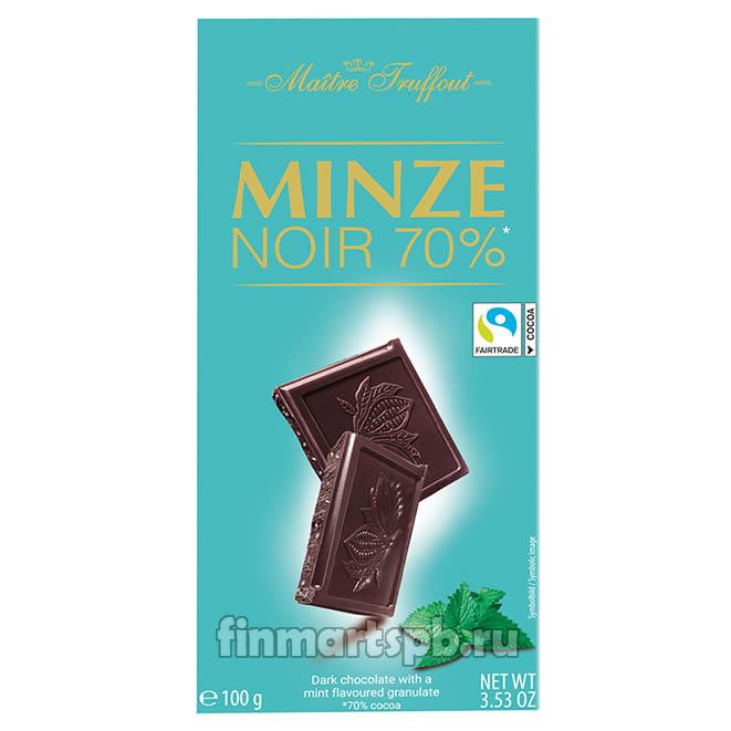 Тёмный шоколад Maitre Truffout Minze noir 70% (с мятным суфле), 100 гр.