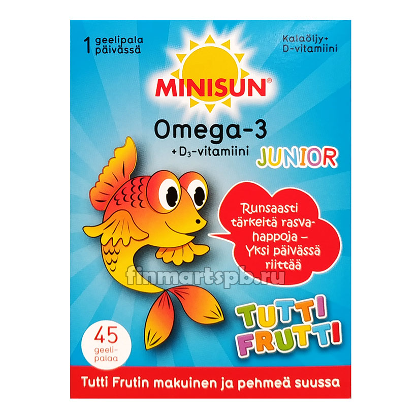 Витамины омега 3 +D3 для детей Minisun Omega 3 Junior (тутти фрутти)