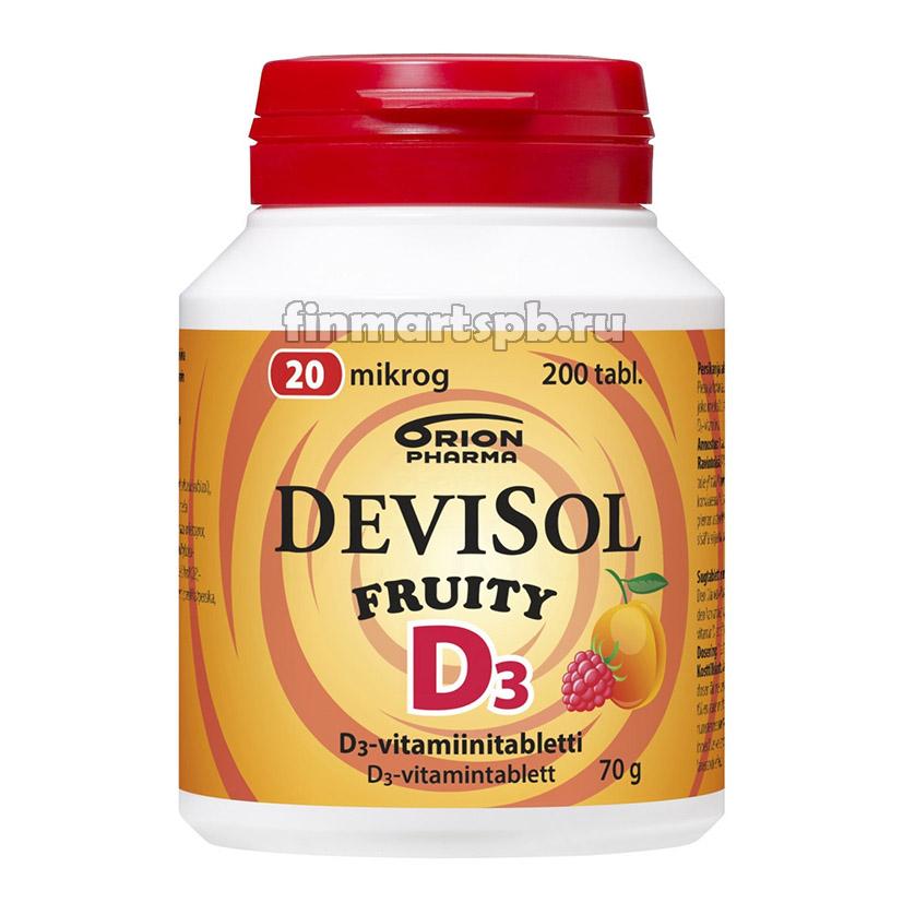 Витамин Д3 DeviSol D3 20 mkg (фруктовый вкус - персик и малина)