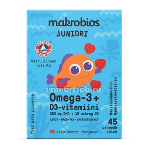 Витамины для детей Makrobios juniori Omega-3 + D3 , 45 шт.