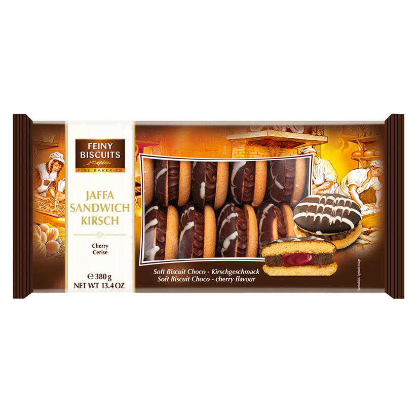Печенье бисквит Feiny Biscuits Jaffa sandwich chocolate cream-cherry (вишня)