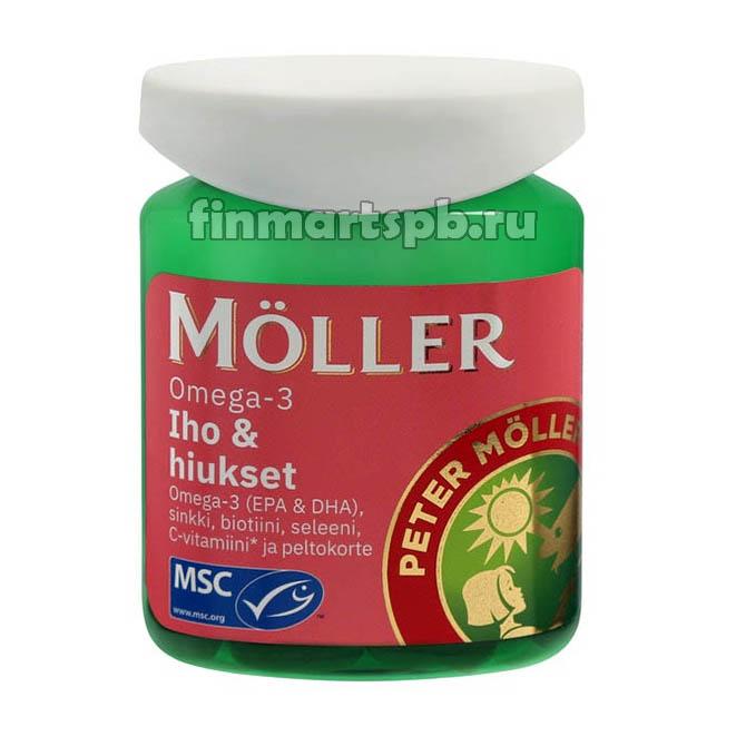 Витамины для кожи и волос Moller Omega-3 Iho & Hiukset