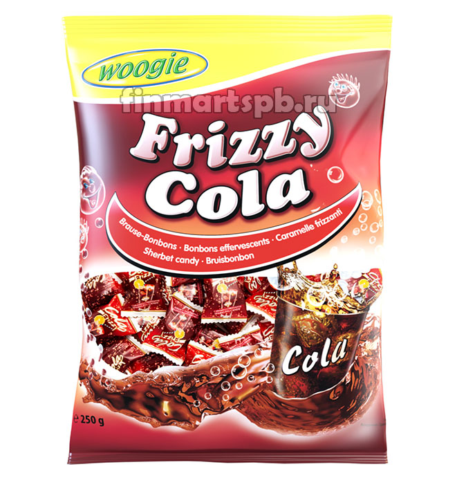 Конфеты леденцы вкус кола Woogie Frizzy Cola, 250 гр.