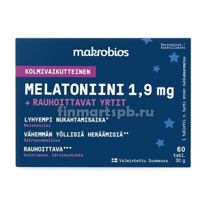 Витамины для улучшения сна Makrobios Melatoniini + rauhoittavat yrtit 1.9 mg