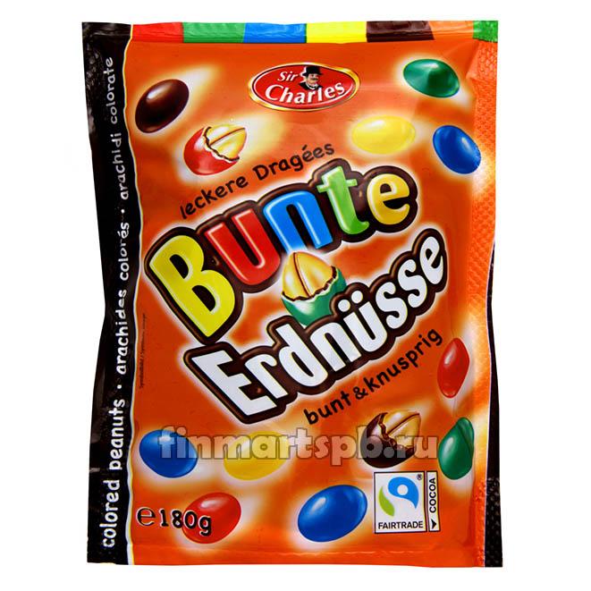Драже молочный шоколад с арахисом Sir charles Bunte Erdnusse