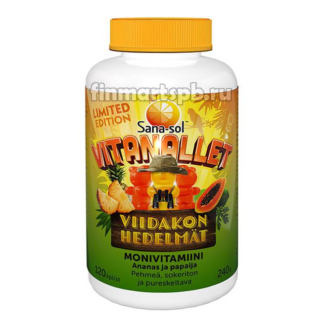 Витамины Sana-sol Viidakon Hedelmat (Сана-сол жевательные мишки - ананас, папайя)