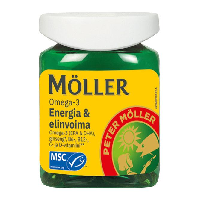 Витамины Moller Omega-3 ENERGIA & ELINVOIMA (Омега -3) , 60 капсул.