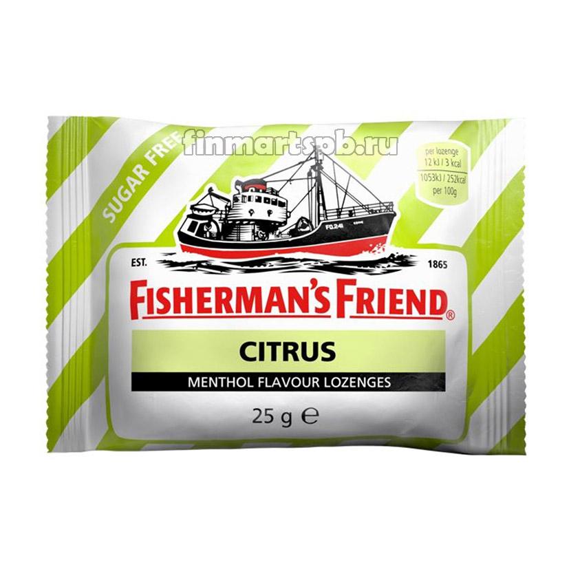 Ментоловые конфеты Fisherman`s Friend Citrus (ментол и цитрус) , 25 гр.