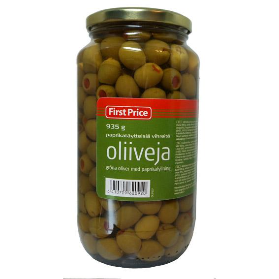 Оливки с красным перцем - 935 гр.