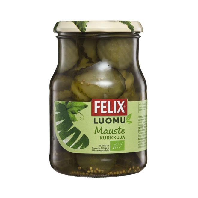 Маринованные органические огурцы в нарезке Felix Luomu - 450 гр.