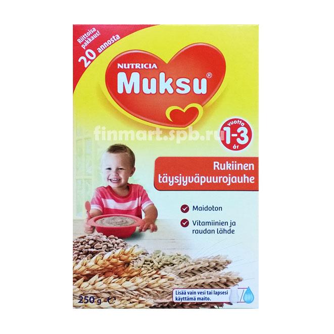 Каша Nutricia Muksu rukiinen täysjyväpuurojauhe 1-3 (ржаная) - 250 гр.