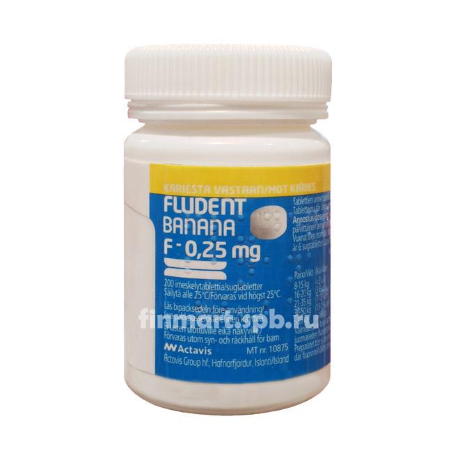 Фтор Fludent Banana 0,25 мг - 200 шт.