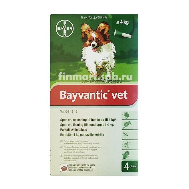 Средство против клещей Bayvantic vet - для собак до 4 кг.